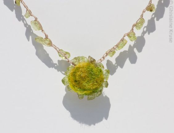 My sons birthstone is peridot! Will have to show him cause mama always has a birthday coming up!  Felt and peridot beaded micro crochet necklace by KruseArt on Etsy, $32.00