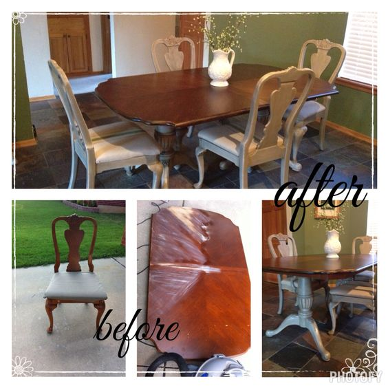 Pedestal Dining table and chairs chalkpainted and refinished. I used DIY chalk paint in cream and gray and used stain as a glaze. Chair seats are covered with canvas drop cloth hand painted with grain sack stripe.