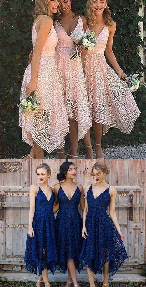 Pink V Neck Straps Tea Length Asymmetrical Lace Bridesmaid Dress