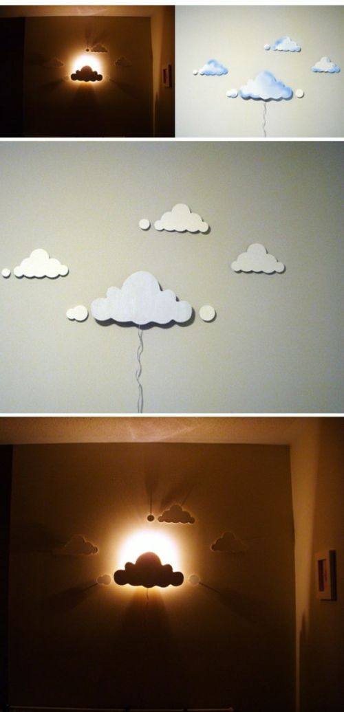 diy projekte aus vorhandenen materialien wolken wandlampen. Black Bedroom Furniture Sets. Home Design Ideas