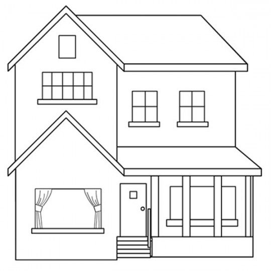Plano de casa con dos dormitorios (con imágenes)   Dibujo de casa