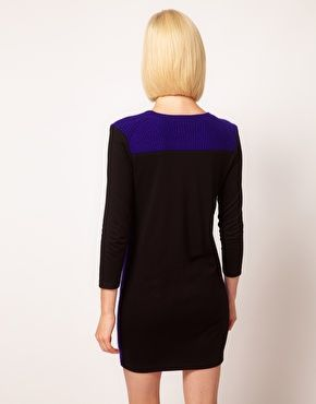 Image 2 ofASOS Jumper Dress In Knit And Jersey Mix