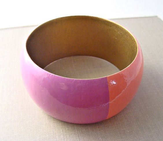Hand Painted Wooden Bangle Bracelet Coral Orchid Purple Light Pink Summer Fashion