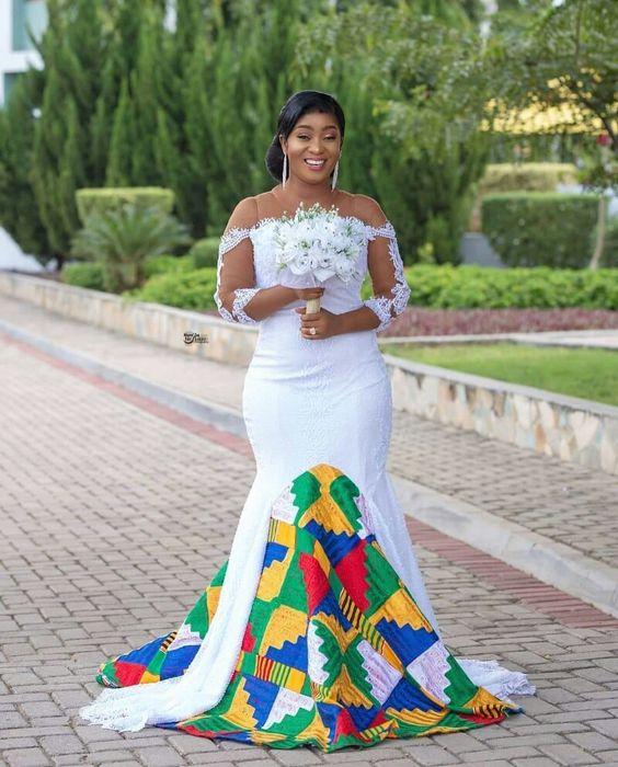 white and kente african wedding dress