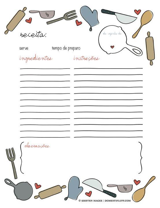 As Melhores Amigas da Noiva: {Download} Folha de receitas para o chá de cozinha