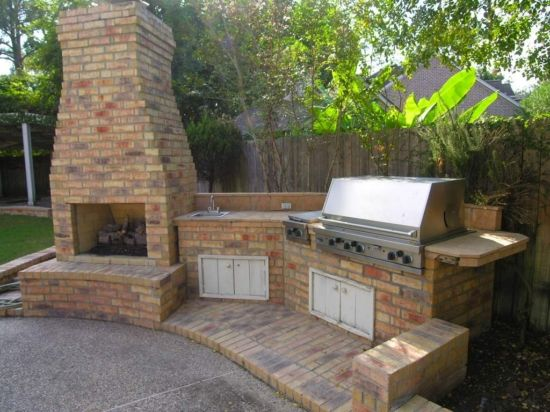 brick outdoor kitchens Chimneys and Fire Pits backyard