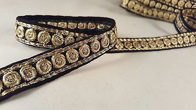 *stylish black #ribbon with gold floral embroidery trim 4 #crafting #decor 1m ,  View more on the LINK: http://www.zeppy.io/product/gb/2/111923986138/