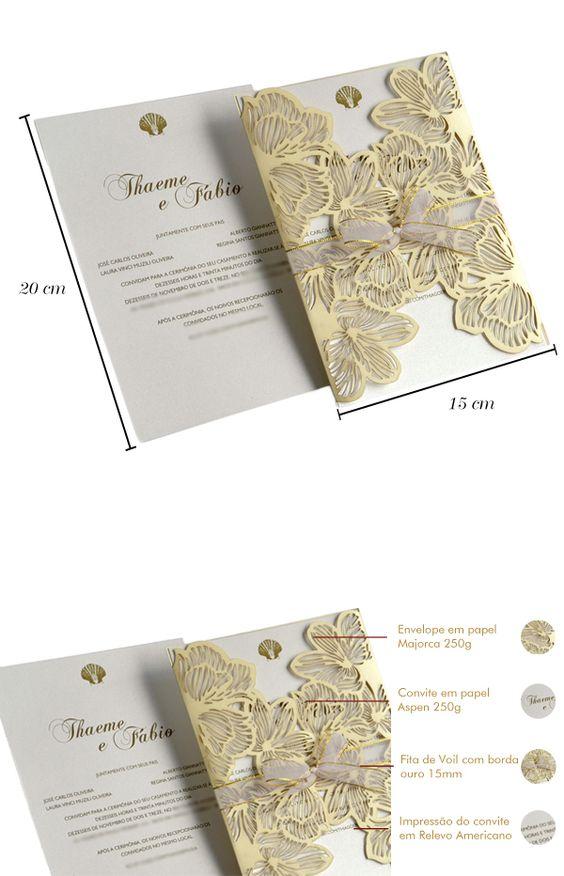 Convites de casamento com corte Laser Thaeme