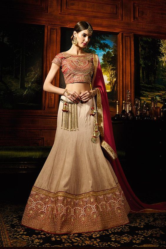 Beige Color Silk & Banglori Silk Fabric Lehenga Choli: