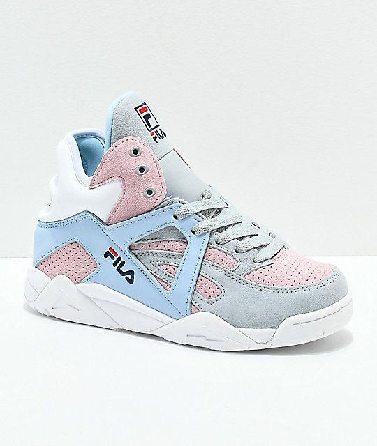 FILA Cage Suede Grey, Pink \u0026 Blue Shoes