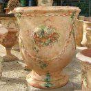 Poterie d'Anduze Le Chêne Vert, vase languedoc à décor ange et guirlande digitée