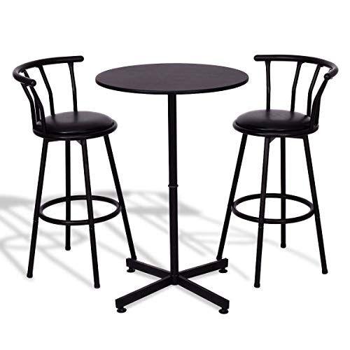 Anya Nana Ideal Seat 3 Pcs Kitchen Bar Table Set 2 Stools Pub Breakfast Bistro Kitchen Furniture Black Pub Table Sets Bar Table Sets Bar Table