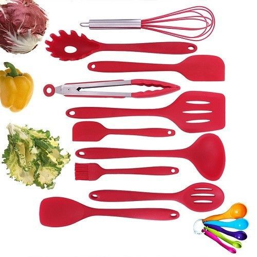Silicone Kitchen Utensils Set 10 Pieces Red Dishwasher Safe Cooking Banking Tool And Utensil