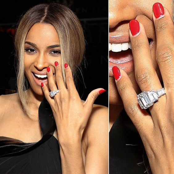 Ciara showed off her 15-carat diamond engagement ring after her boyfriend, rapper Future, proposed in October 2013.