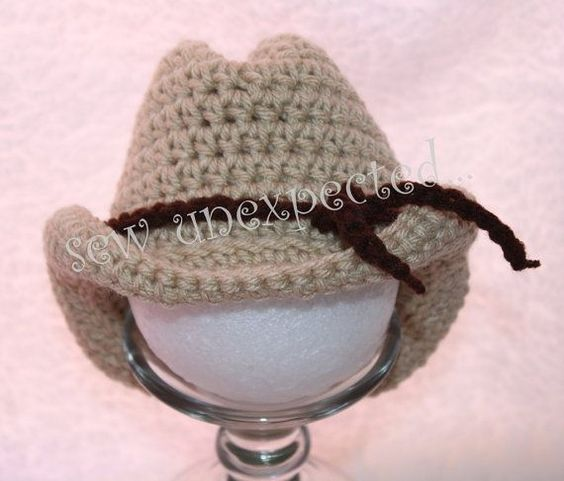 Crochet baby cowboy hat - free pattern - I made one and it is SOOOO cute... I put three yarn wrapped pipe cleaners in the last row to form the rim of the hat! by ksrose