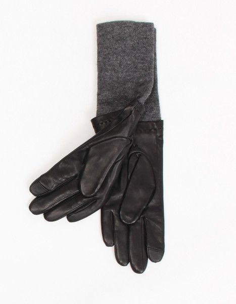 Leather and Knit Glove in Black