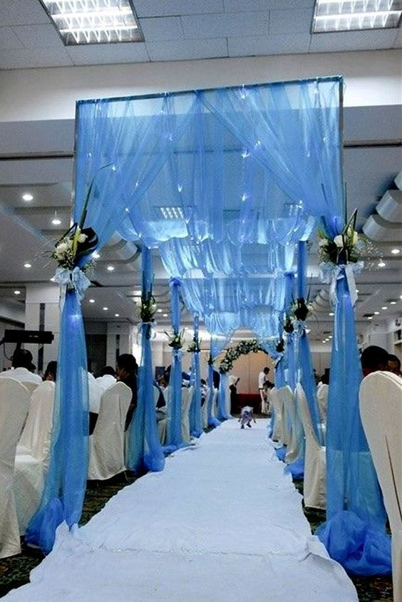Blue Wedding Reception Decorations With Chiffon Drappery Spring