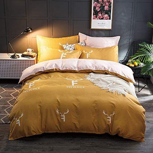 Shanheyy Elk 4pcs Duvet Cover Set Christmas Bed Quilt Cover Sheet Pillowcases Bedding Sets Yellow 200230cm Best Quilted Co Bed Quilt Cover Duvet Cover Sets Bed