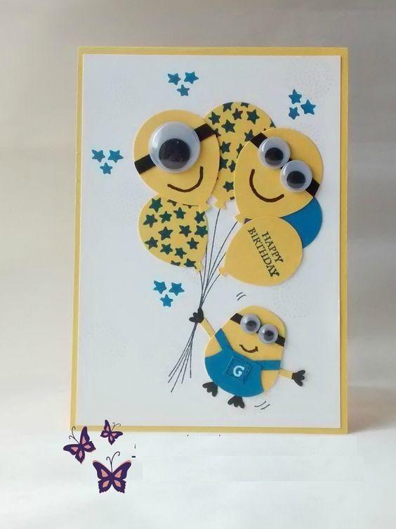 Fiesta de Cumplea os Minions Ideas Originales y Divertidas – Homemade Birthday Cards for Kids to Make