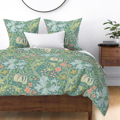 Colorful Fabrics Digitally Printed By Spoonflower Golden Lily Original The William Morris Collection In 2021 Duvet Covers Dragon Duvet Floral Duvet Cover