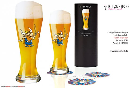 Ritzenhoff Viking Beer Glass Weizenbierglas Wikinger  Objects designed for the RITZENHOFF Design Collection by artist Ian David Marsden   http://www.ritzenhoff.de/catalogsearch/result/?q=Marsden&x=-1353&y=-105  Please visit my portfolio. http://marsdenillustration.com/portfolio/ritzenhoff/  #illustrator #artist #freelance #independent #experienced #illustration #portfolio #Marsden#illustration #logo #design #ritzenhoff #porcelain #china #glassware #giftideas #cute #funny #viking #wikinger