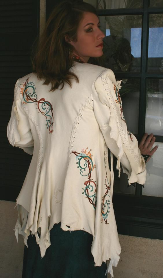 White Buckskin Jacket from Meredith Lockhart. . .love the natural edges on this jacket!