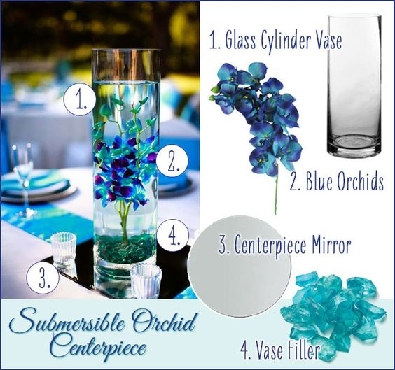 Easy Floating Candle Centerpieces: Gorgeous Blue Orchid Submersible Centerpiece. DIY Wedding
