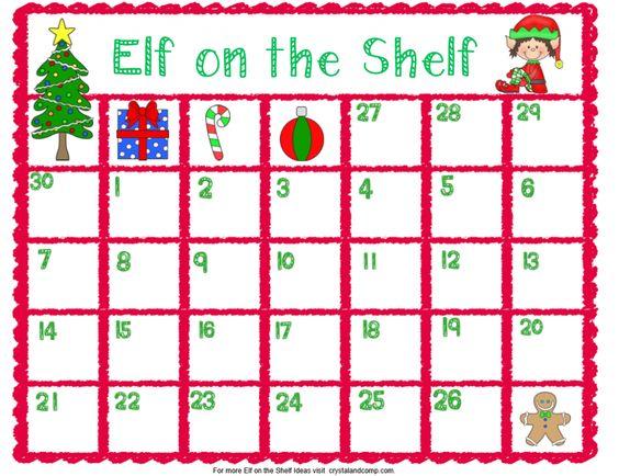 Elf on the Shelf Printable Planning Calendar Shelves, The o\u0027jays