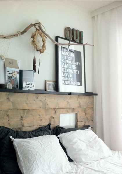 Faire Une Tete De Lit En Bois Flotte : Pallet Headboard with Shelf