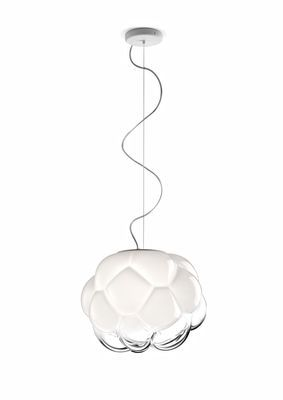 Cloudy Pendant Ø 40 cm / White & transparent by Fabbian | Made In Design UK