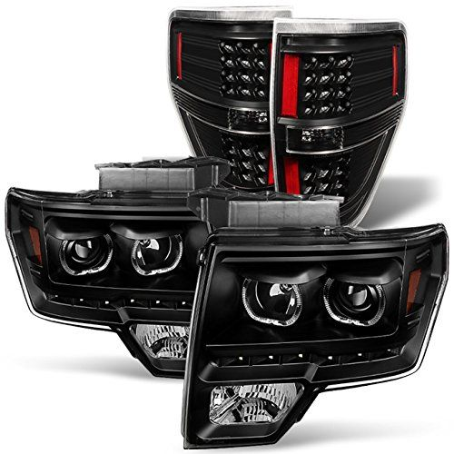 For Dual Led Halo Ring 09 14 F150 F 150 Pickup Truck Black Projector Headlights Led Tail Light Set Truck Accessories Ford Ford Trucks F150 Pickup Trucks
