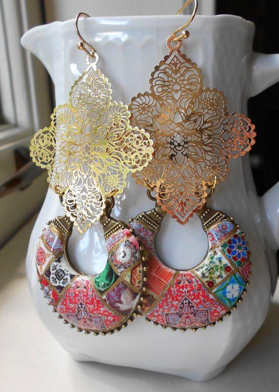 Portugal Antique Azulejo Tile Replica Earrings Bohemian by Atrio