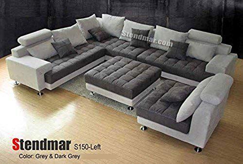 Buy 5pc Modern 2 Tone Grey Microfiber Big Sectional Sofa Set