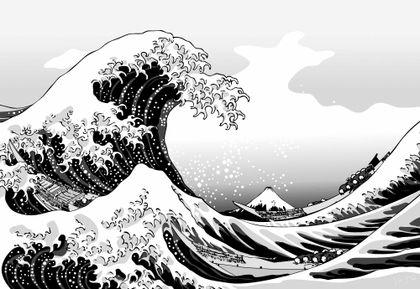 paintings waves boats grayscale vehicles the great wave off kanagawa katsushika hokusai thirtysix v_www.vehiclehi.com_61.jpg (420×289)