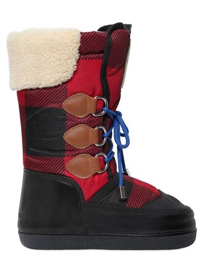 DSQUARED2 Plaid Nylon & Leather Snow Boots, Black/Red. #dsquared2 #shoes #boots