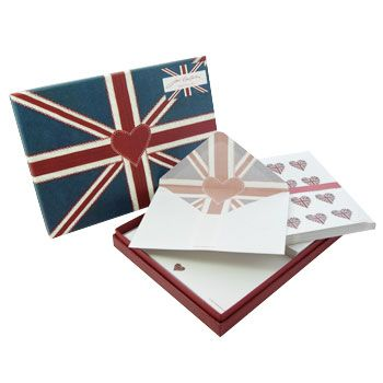 This beautiful writing set in the popular Union Jack design by Jan Constantine features striking hearts and a blanket stitch effect.