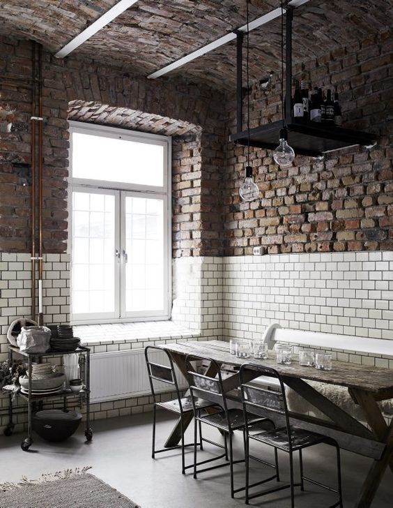 Industrial style dining space | exposed brickwork, subway tiles and bare bulb lighting - love, love, love | Sara N Bergman, photo Kristofer Johnsson