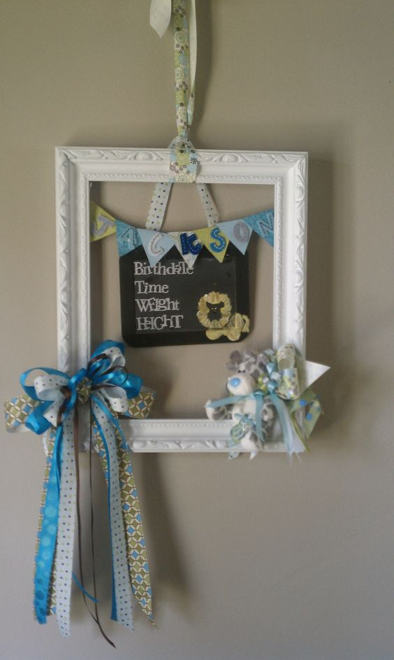 Meant to pin this a while back, this is the Hospital door wreath I made for my sis-in-law and nephew! Re-used bows and ribbon from the baby shower. Think I might use the frame idea for a Halloween wreath!