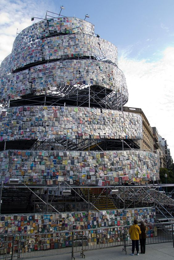 tower of Babel built with books