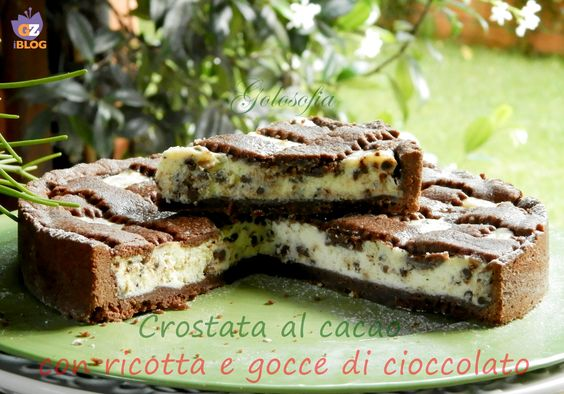 Crostata al cacao con ricotta e gocce di cioccolato, un dolce fantastico! bello anche da presentare, conquisterà tutti!