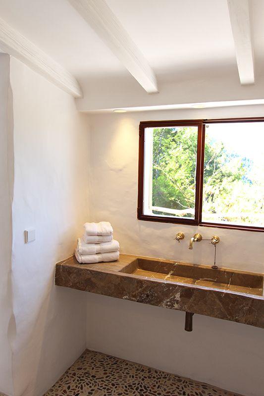 Stone sink by Moredesign.es. COME SEE MORE Rustic Spanish Villa Interior Design Inspiration!