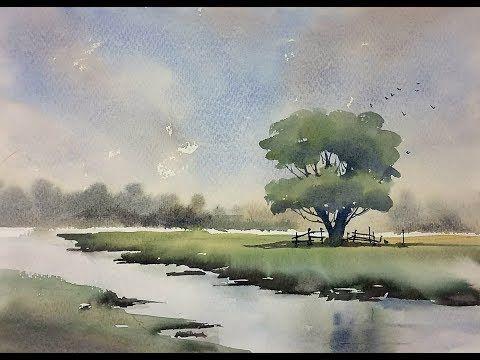 Aquarell Eines Einsamen Baums Youtube Art Tutorials Watercolor Watercolor Paintings Tutorials Watercolor Trees
