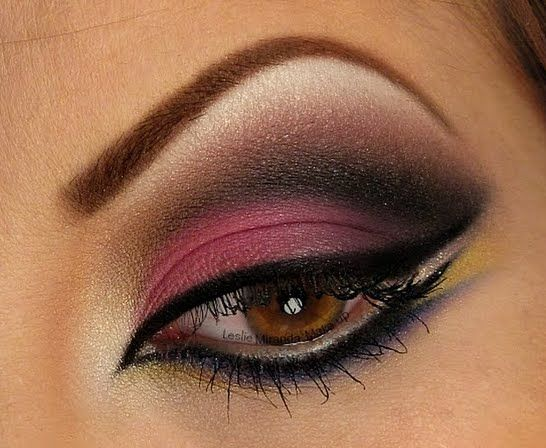 Stun with this gorgeous Arabic inspired eye look! Apply a few different eyeshadow colors to give the look some depth.