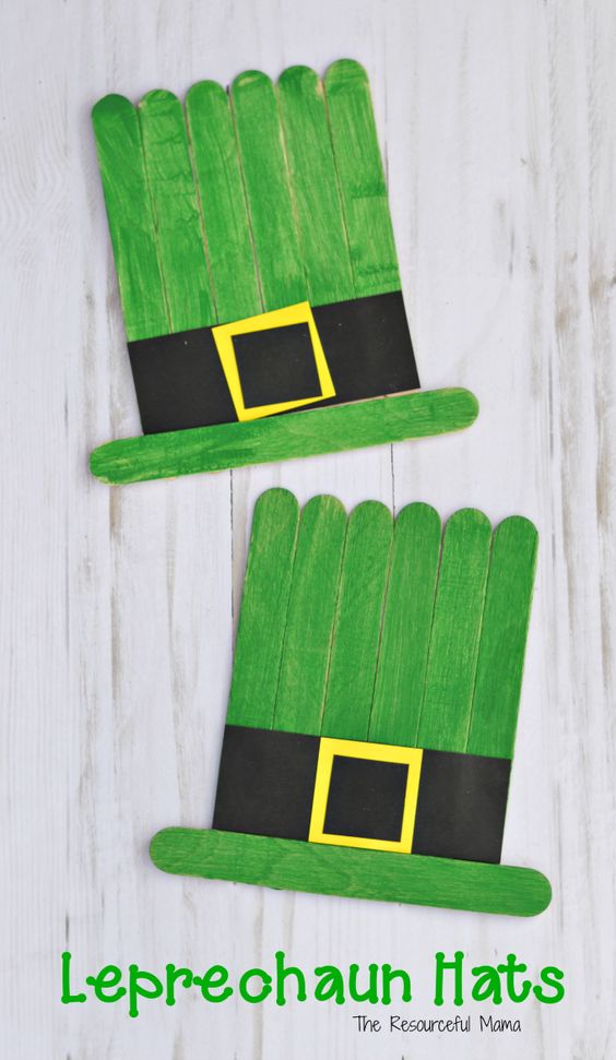 Leprechaun hat craft kids can make for St. Patrick's Day from craft sticks.: