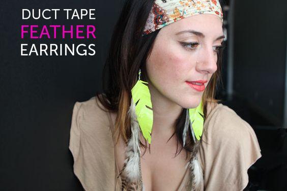Si simple à faire en ruban adhésif ! Flirty Fluorescent Feathers: Another Win for Duct Tape via Brit + Co.