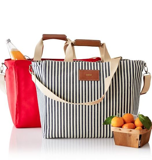 cute striped insulated totes