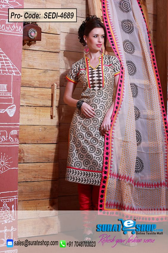 Make The Heads Flip The Moment You Dress Up In This Lovely Beige Chanderi Cotton Silk Salwar Kameez. This Beautiful Attire Is Showing Some Fantastic Embroidery Done With Block Print Work. Paired With A Contrast Fuchsia Cotton Chudidar Comes With A Contrast Off White Net Dupatta  Visit: http://surateshop.com/product-details.php?cid=2_27_46&pid=6977&mid=0