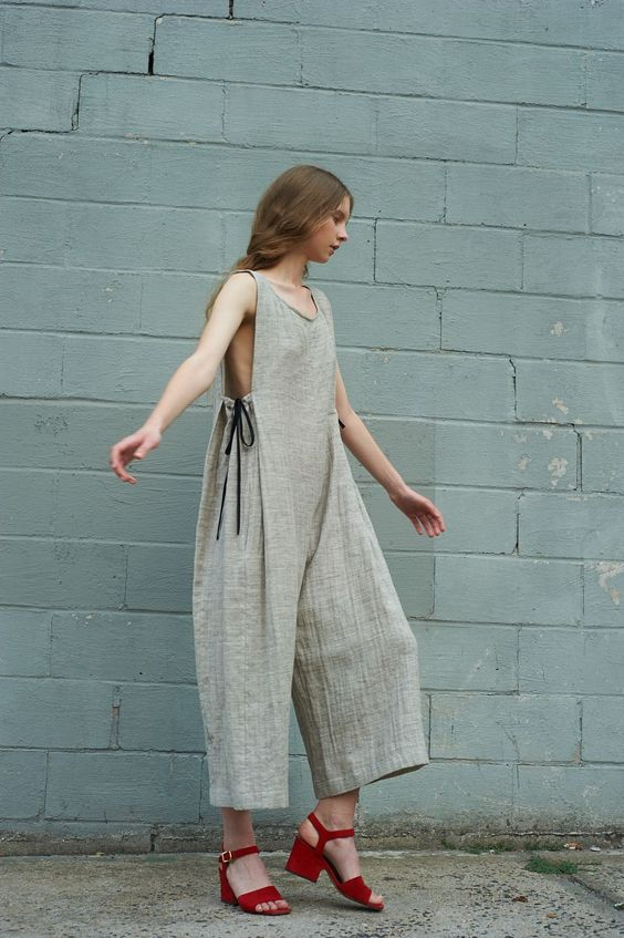 loose linen grey jumpsuit gingerly witty