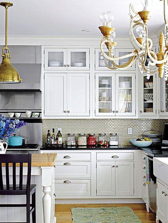 Subway tiles tile and cabinets on pinterest for Cottage style kitchen backsplash ideas