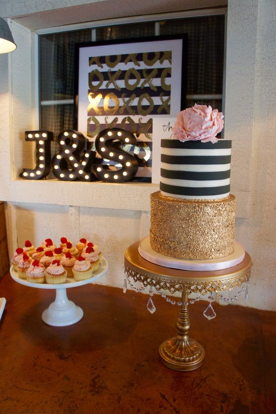 A little bit of rustic and a little bit of glam! Kate Spade inspired cake in pink gold and black. #cupcakebar #stripes #sequins